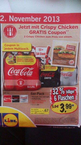 LIDL Super-Samstag 2. Nov 6x1,25L Coca Cola/Zero/Light + B1G1 Crispy Chicken Gutschein von BK fuer 3,99 Euro