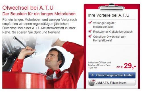 Ölwechsel bei ATU ab 29 Euro