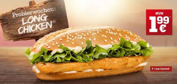 [Burger King] Long Chicken wieder zum Probierpreis einzeln für 1,99€ teilweise für 1,85 € wenn man 2 kauft mit Coupon!