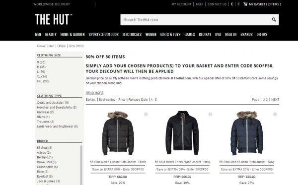 TheHut.com 50%,20% Rabatt auf ausgewähltes oder Kostenlosen Pulli zur Jacke