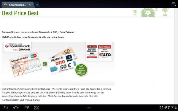 Hypovereinsbank Konto Prämie 50,- Euro Startguthaben + 50,- Euro BestChoice eShop Gutschein