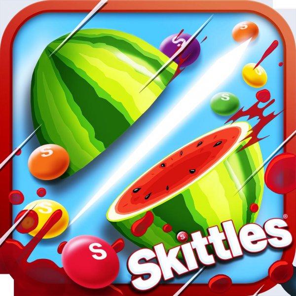 (ANDROID + APPLE) Fruit Ninja vs Skittles  - Fruit Ninja im Skittles Design