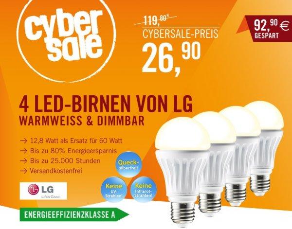 Cyberport: 4 LED-Birnen von LG für 26,90 statt 79,90