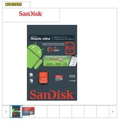 SanDisk Ultra MicroSDXC UHS-I Karte 64GB Class 10 @Conrad