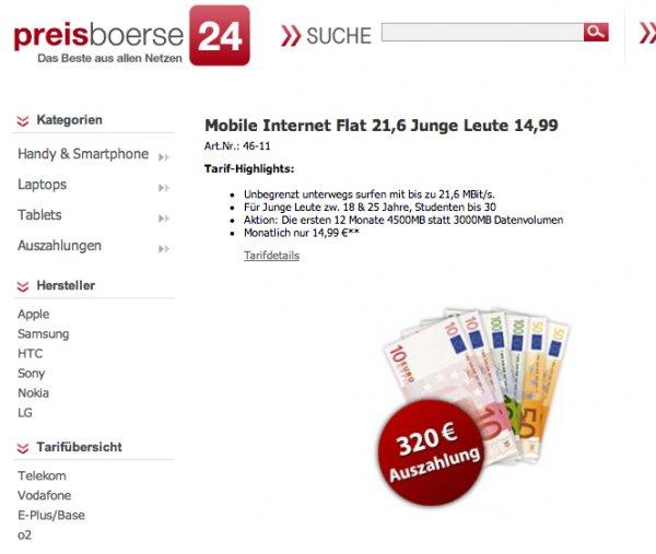 Vodafone Junge Leute 21,6MBit LTE Datentarif 3GB (+1.5GB im ersten Jahr) für effektiv 2.91 Euro pro Monat