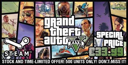GTA V PC Steam nur 33.99€ Nur 500 Stück verfügbar - 19 Stunden noch!