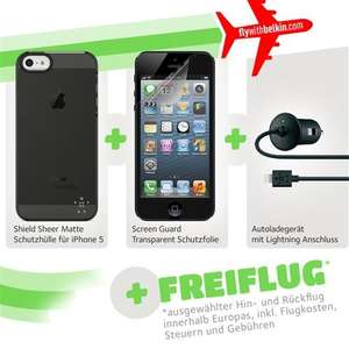 Belkin Aktionsset iPhone 5/5S Schutzhülle-, Folie, Ladekabel Zubehör inkl Freiflug