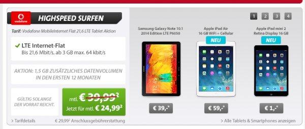 Vodafone: 4,5GB LTE Internet-Flat MIT Galaxy Note 10.1, iPad Air oder iPad mini 2! Sparhandy!