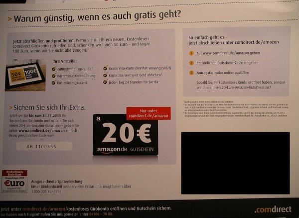 Comdirect Girokonto bekannte Aktion 50€ wenn / 100€ wenn nicht + 20€ Amazon Gutschein