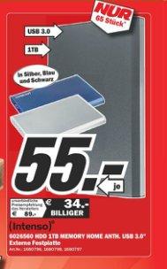 """Verkaufsoffener Sonntag MediaMarkt Heppenheim: Intenso Memory Home 2,5"""" USB 3.0 1TB für 55€"""