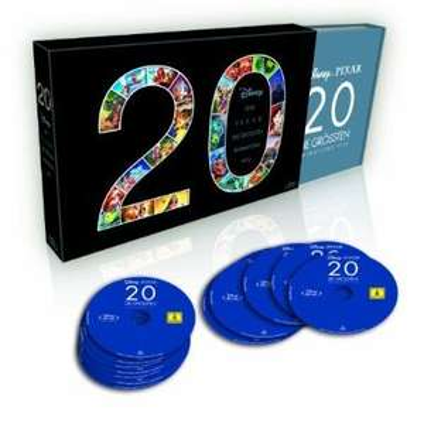 20 Filme - Disney und Pixar - Die größten Animations Hits (Blu-ray) [Limited Edition] für 95,99 € bei Müller Einzelpreis je Bluray 4,80 €
