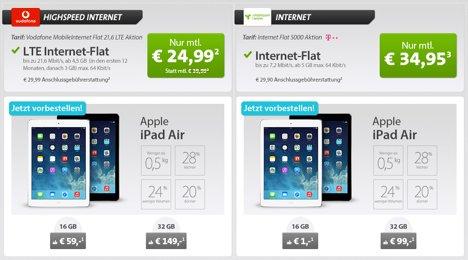 iPad Air & iPad Mini 2 sehr günstig über Sparhandy - 2€/Monat bei iPad Air mit Vodafone für LTE