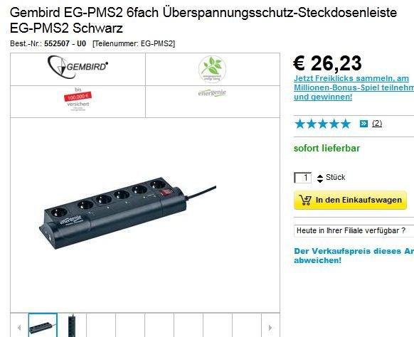 Mal ein etwas anderer Deal  Gembird Überspannungsschutz-Steckdosenleiste 6-fach, schwarz EG-PMS2 steuerbar per Raspberry VU+ Dreambox @Conrad