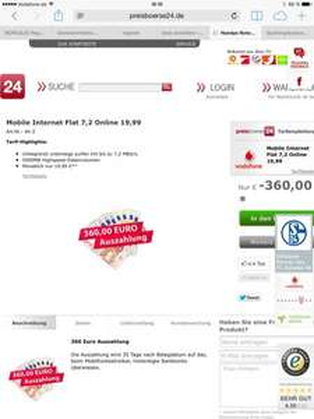 5GB Vodafone Mobile Internet Flat 7,2  für effektive 4,99€/Monat