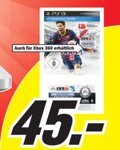 FIFA 14 PS3 & Xbox 360 für 45 Euro bei Media Markt in Hamburg
