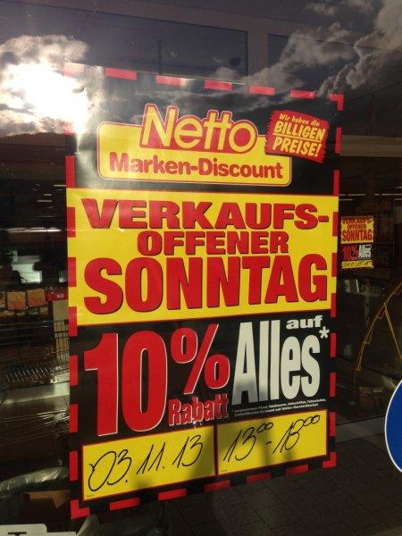 [lokal] Verkaufsoffener Sonntag 3.11.13 Netto Wuppertal 10% auf alles*