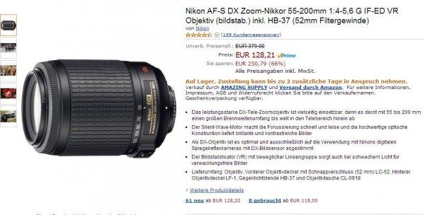 Nikon AF-S DX Zoom-Nikkor 55-200mm 128€ (statt 379€ UVP) bei Amazon