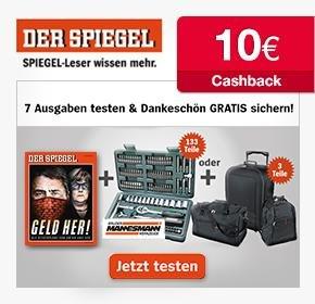 Der Spiegel: 7 Ausgaben mit Steckschlüsselsatz oder 3 tlg. Taschenset+ 10€ Cashback von Qipu