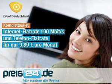9,89€ statt 19,90€ für die schnellste und günstigste Internet- und Telefon-Flatrate Deutschlands mit 100 Mbit/s Download-Speed, gratis WLAN und Installation vor Ort von Kabel Deutschland