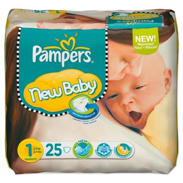 [Baby-Markt] Pampers Gr. 1 Newborn (2-5 kg) 25 Stück (8 Cent) ab 20 Euro KV. [mit Versand + 4,95 und)]