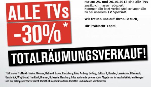 Zusätzlich -30% auf TVs bei ProMarkt