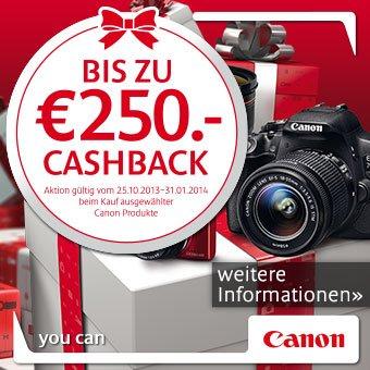 Canon CashBack Aktion bis zu € 250,- zurück
