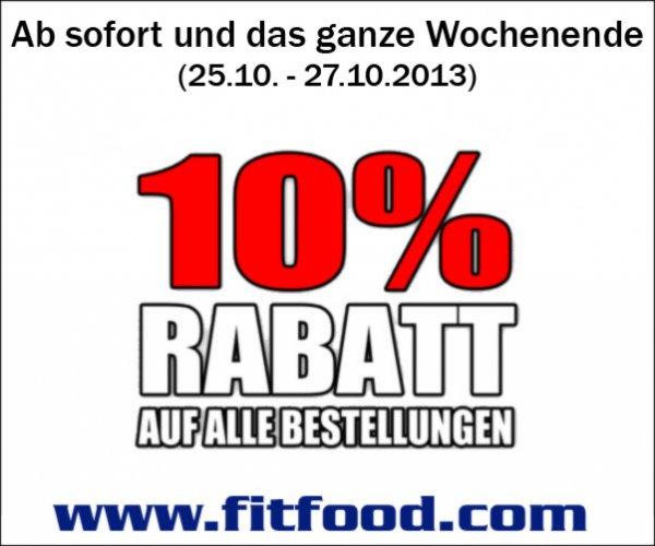 10% auf alle Bestellungen an diesem Wochenende bei www.fitfood.com