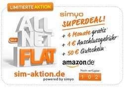 Simyo All Net Flat + 100 € Amazon Gutschein + Die ersten 4 Monate kostenlos