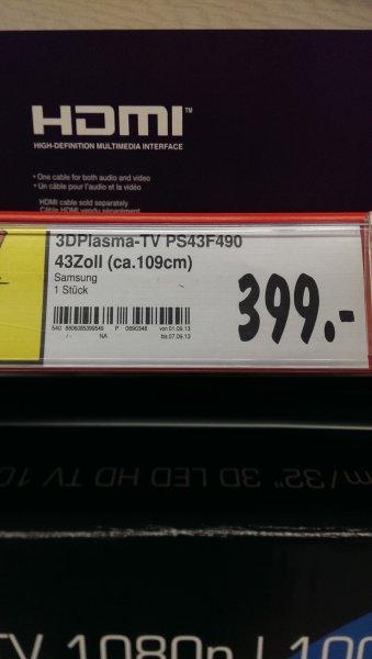 Lokal Hamburg / Kaufland / Samsung PS43F4900 109 cm (43 Zoll) 3D-Plasma-Fernseher, EEK C (HD TV 180p, 600Hz CMR, DVB-T/C, CI+) schwarz