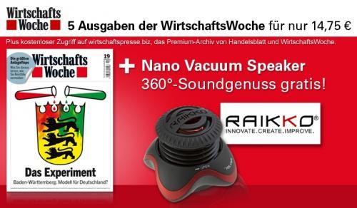 5x Wirtschaftswoche + Raikko 360° Vacuum Speaker