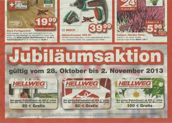 [Hellweg] Bis zu 100€ Geschenkkarte durch Jubiläumsaktion