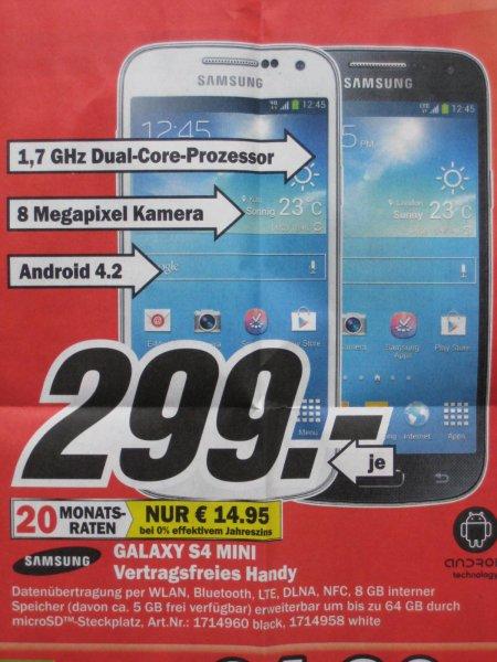 [Lokal MM Düsseldorf Bilk Arcaden] Samsung Galaxy S4 Mini sw/ws 299 €