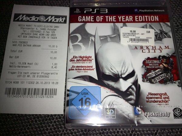 [Lokal Potsdam] Batman Arkham City - Game of the Year Edition (PS3) für 10€