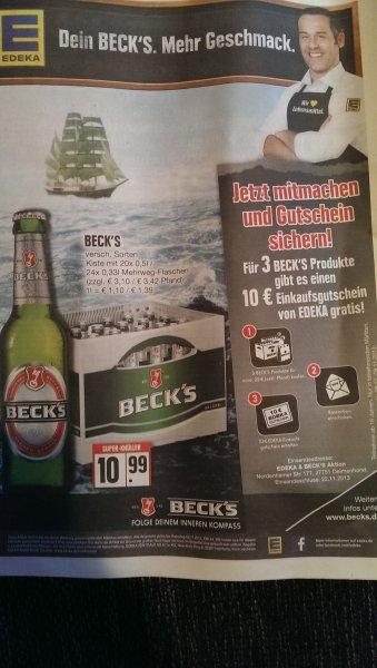 (Lokal)10€ Edeka Gutschein beim kauf von Becks produkten