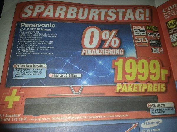 Panasonic TX-P 50 VTW 60 schwarz + 2.1 Soundbar
