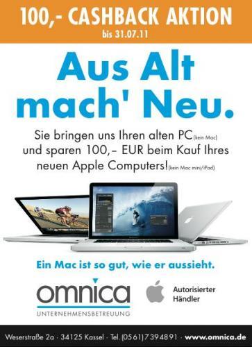 """[Lokal Kassel] 100 € Sofort-Rabatt (Cashback) auf alle Apple Mac's (außer mini) im Tausch gegen alten Win-PC (z.B. MacBook Air 11"""" für 875,- € statt 904 (idealo))"""