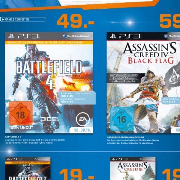 Battlefield 3 und AC 3 für 19€ - Battlefield 4 für 49€ und Assassins Creed Black Flag für 59€ (PS3) bei Saturn (Köln Hansaring)