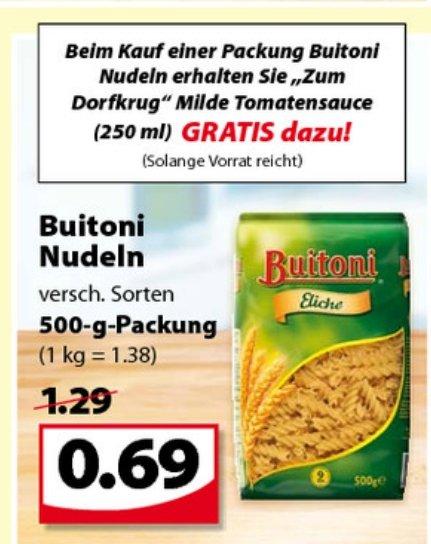 [LOKAL] Buitoni Nudeln, versch. Sorten für 0,69€ INKLUSIVE 1 Glas frische Tomatensoße! GRATIS (Wert 0,89€), FAMILA-NORDWEST
