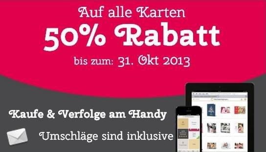 50% Rabatt auf alle Karten (Weihnachten, Trauer, Geburtstag) @hochzeitsplaza.de