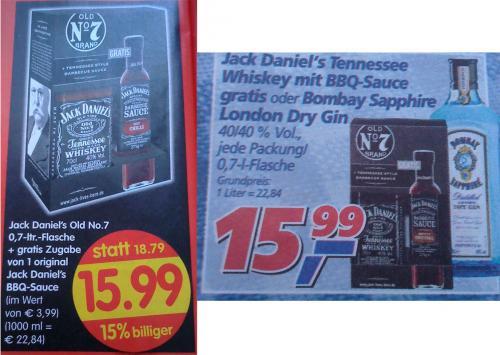 Jack Daniels Old No.7 + BBQ Sauce bei Real und Treff3000