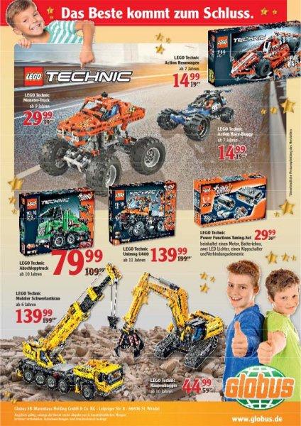 [Globus] Lego Technic Schwerlastkran 42009, Unimog 8110 je 139,99 und weitere