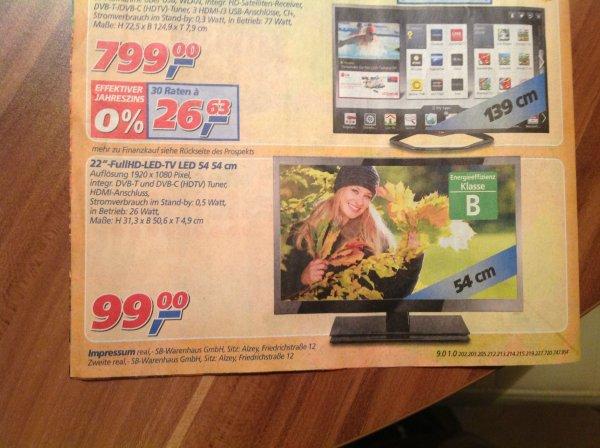 Real Lokal Bundesweit / 22 Zoll Full HD Tv 99,00 €