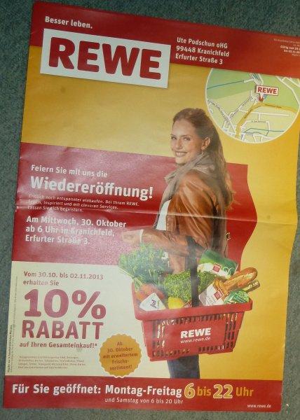 [LOKAL Kranichfeld 99448] REWE 10% auf Alles* wegen Neueröffnung nach Umbau bis 02.11.