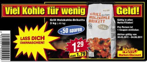 Grill Holzkohle-Briketts 3 kg für nur 1,29 € (@Netto)