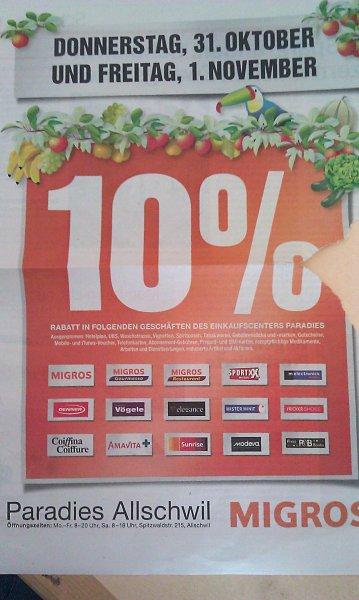 [SCHWEIZ] [LOKAL] 10% Rabatt in allen Geschäften im Paradies, Allschwil