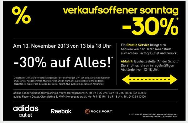 [Lokal 91074 Herzogenaurach] adidas Factory Outlet - Sonntag, 10.11.2013 - 13.00 bis 18.00 Uhr - 30% RABATT AUF ALLES