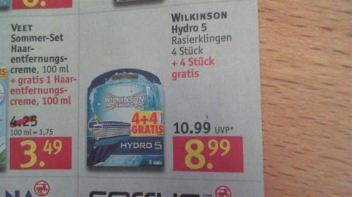 Wilkinson Hydro 5, 8 Klingen für 8,99€ @Rossmann