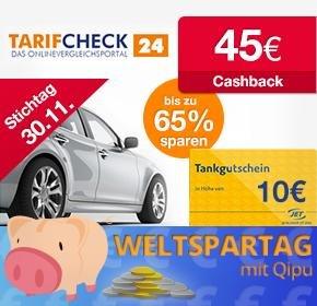TARIFCHECK24: 45€ Cashback + 10€ Tank-Gutschein
