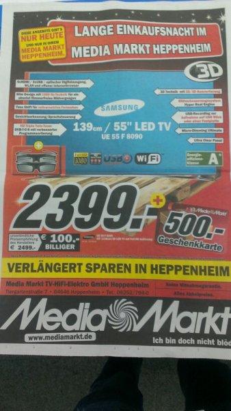 SAMSUNG 55F8090 für 1899€ im Mediamarkt Heppenheim