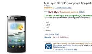 "Acer Liquid S1 Phablet 5,7"", Quad 4x 1,5GHz, 1GB RAM, 8MP Kamera, Dual-SIM, Android 4.2 Amazon FR"